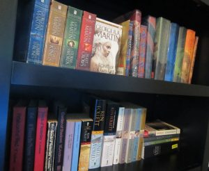 I could not separate these books in order to put on my rainbow shelves. It would drive me crazy knowing they are not together. Two of my favorite series here are the Roll of Thunder, Hear My Cry series and, of course, Harry Potter.